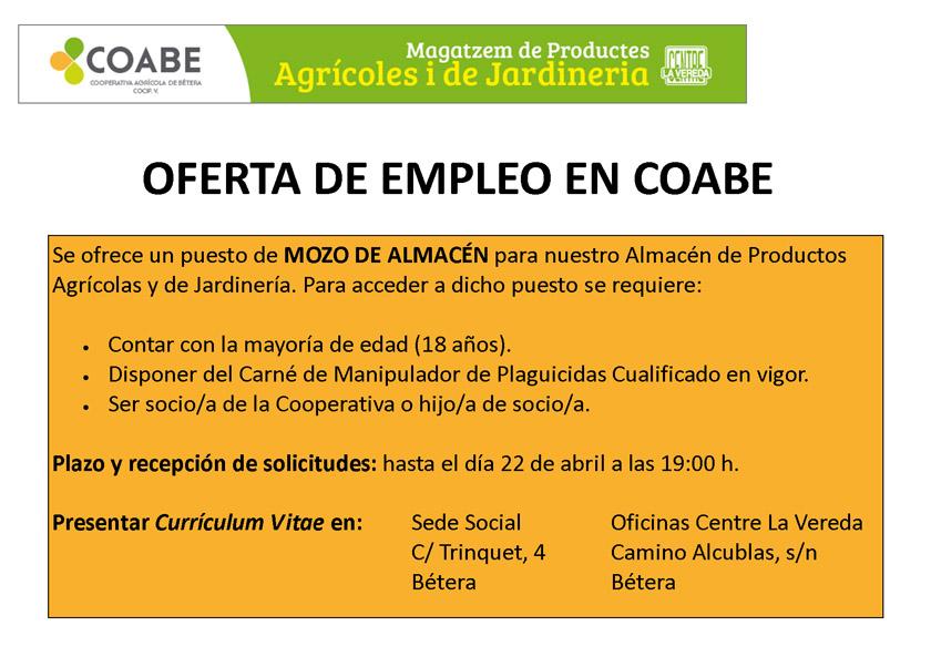Oferta empleo Almacen 2016